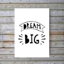 Dream Big Nursery Monochrome Print, Black and White Nursery Print, Dream Big Quote Print, Kids Wall Art for Baby Room, Boys Bedroom Pictures