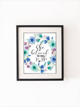 Inspirational Quote Prints for Children, Girls Room Baby Nursery Art, Watercolour floral print