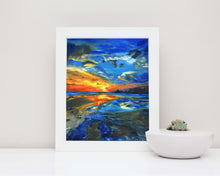 sunset wall art orange, sunset wall art, seascape sunset wall art, seascape sunset painting, wall art beach scenes
