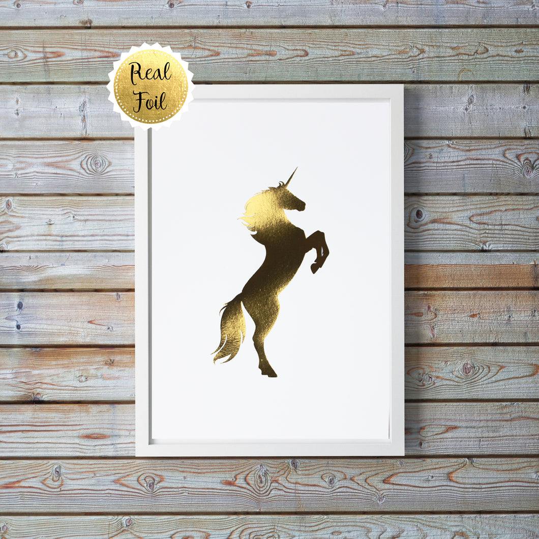 Gold Unicorn Wall Decor, Unicorn Pictures for Bedroom, Unicorn Art