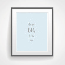 Boy Nursery Decor, Dream Big Little One, Dream Nursery Prints for Boys, Star Nursery Wall Decor, New Baby Print, Blue Inspirational Pictures