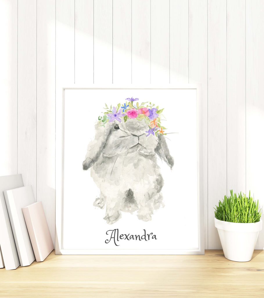 bunny with flower crown drawing, bunny with a flower, watercolour bunny images, watercolour bunny print,