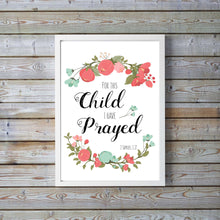 Christian Wall Art UK, Christian Prints and Posters UK, For this Child I Have Prayed Print