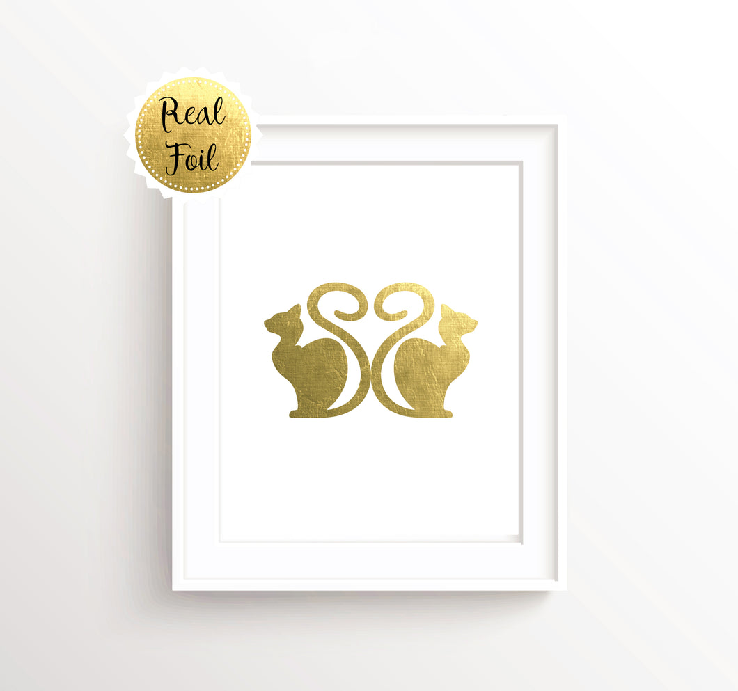 Gold Foil Cat Art, Cat Prints UK, Cat Lover Gifts UK, Cat Wall Decor