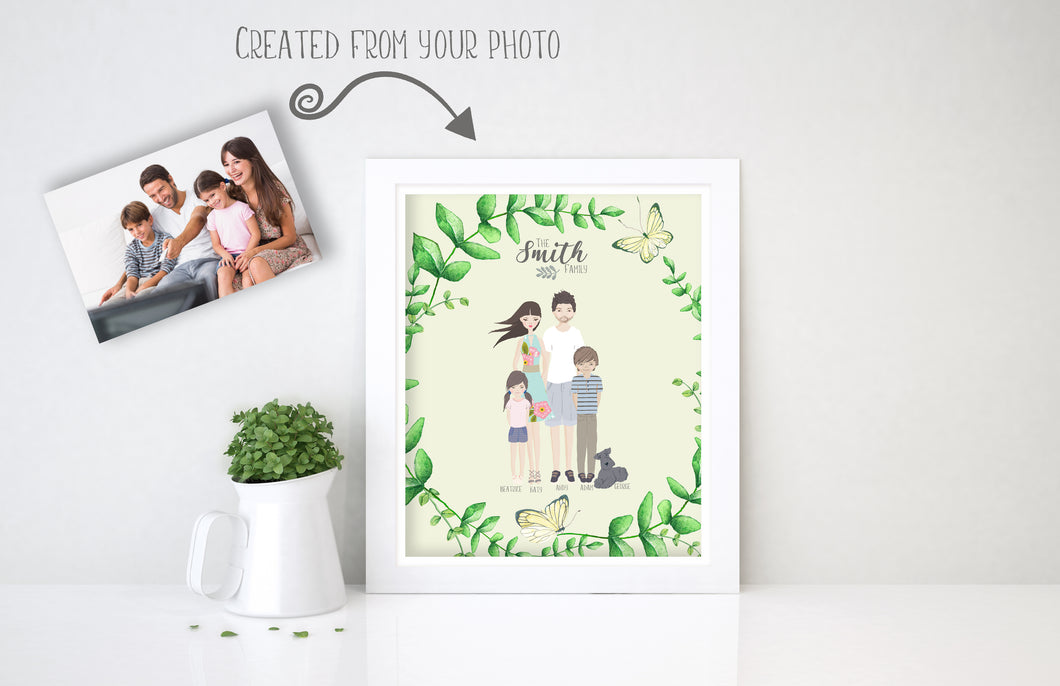 Personalised Family Print, Family Picture Cartoon, Family Wall Art Ideas
