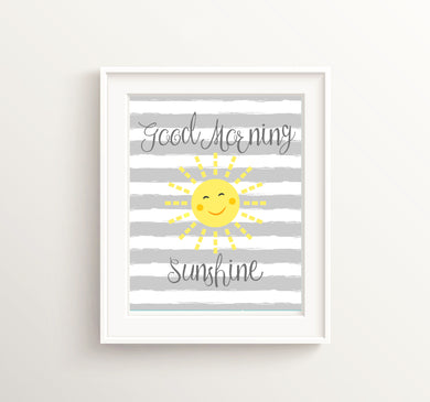 Good Morning Sunshine, Unisex Nursery, Grey and Yellow Wall Art, Nursery Prints, Yellow Boy Room Decor, Baby Girl Quotes Wall, Boys Picture