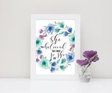 Teen Girl Room Decor, Wall Art Quotes, She Believed She Could So She Did Picture, Feminist Gift