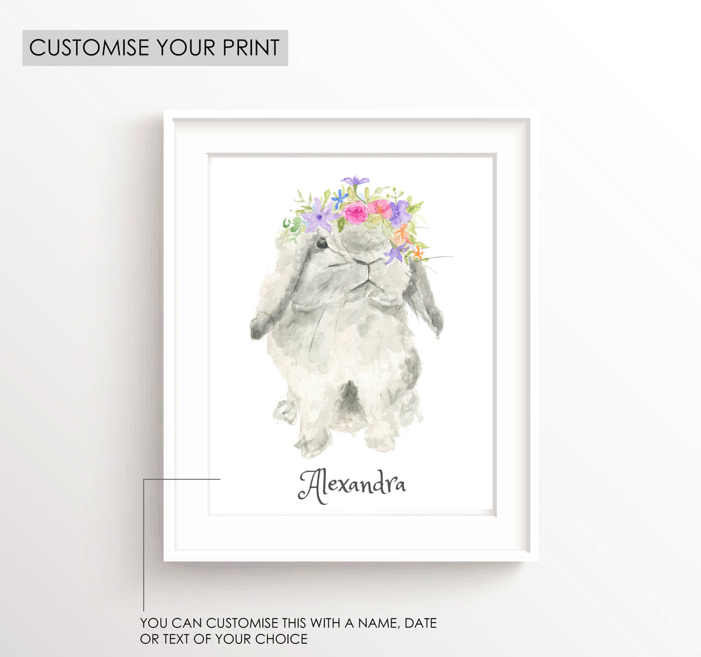 watercolour bunny illustration, watercolour bunny paintings, bunny watercolour drawing, personalised kids wall art