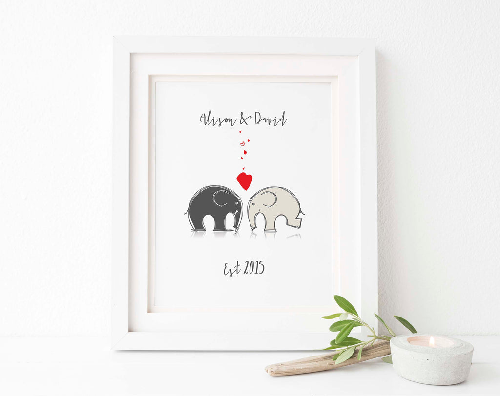 Personalised Couple Gifts, Valentines Day Gifts, Elephant Couple Art, Valentines Gift for Girlfriend, Personalised Print
