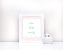 peach nursery decor, new baby quotes, peach nursery print, peach pink nursery, new baby nursery gifts, use kind words