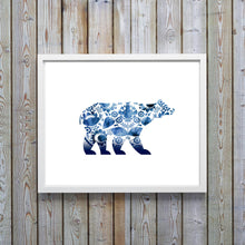 Polar Bear Pictures, Folk Art Prints UK, Gzhel Polar Bear Artwork