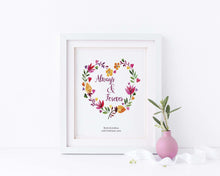 Wedding Prints Personalized, Custom Floral Wedding Wall Art Prints, Always and Forever Print, wedding date wall art