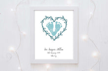 Baby Footprint Print and Birth Details Print - pretty addition to a little girls nursery, baby hand and footprint print