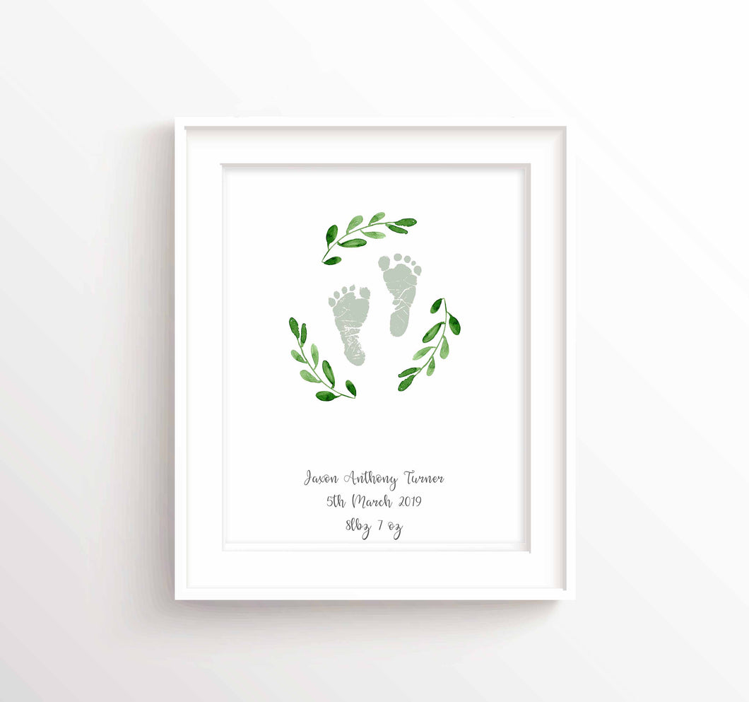 Personalised New Baby Gift Ideas, Baby Footprint Birth Details Print