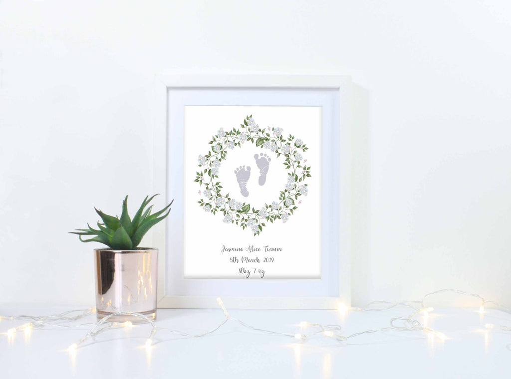 Personalised Baby Birth Keepsake Gift, Baby Footprint Wall Art Print