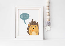 hedgehog nursery decor, Be Brave Wall Art, Animal Print Set, Playroom Wall Art, Set of 3 Prints, nursery print set