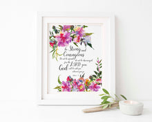 Joshua 1 9 Wall Art Gift, Be Strong and Courageous Bible Verse Print, Watercolour Bible Verse Printable, Christian Art