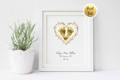 Baby Footprint Art, Baby Footprint Heart Keepsake Gold Foil Print, Gold Foil Baby Footprints Picture