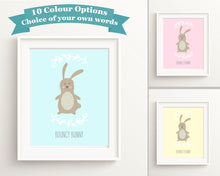 Rabbit Art Nursery Wall Art Girl, Bunny Print Nursery, Custom Nursery Decor, Rabbit Nursery Wall Art,cute bunny wall art