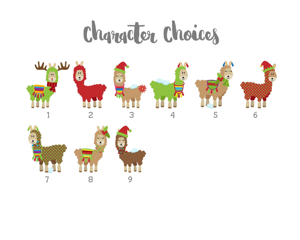 Crafty Cow Design - Christmas Llamas character choices