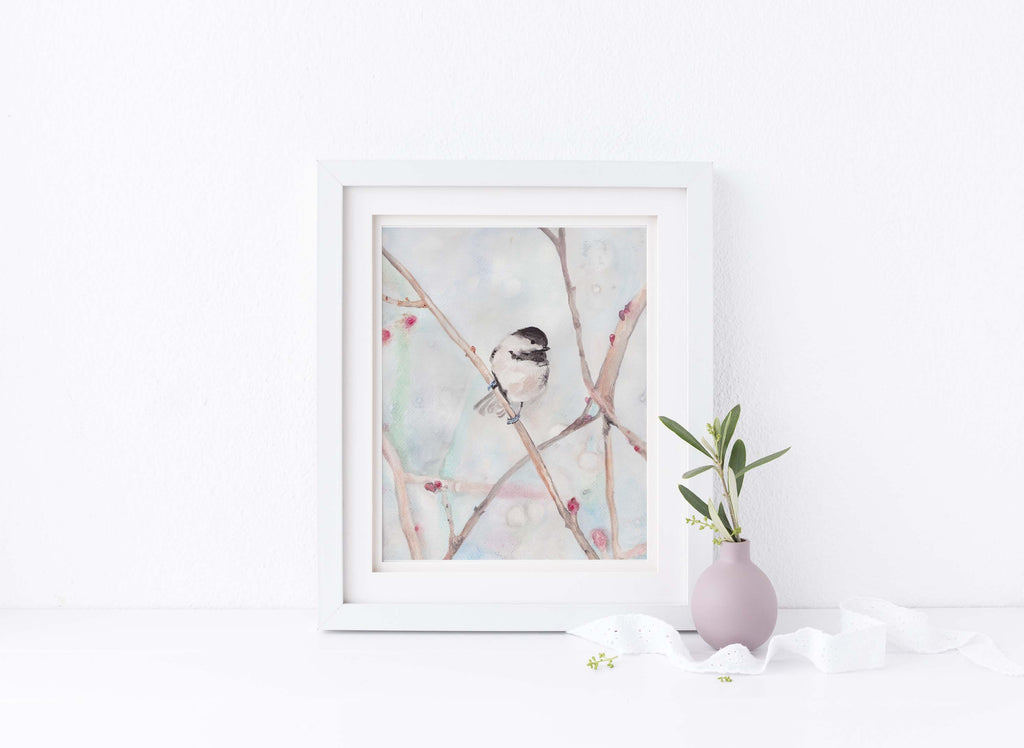 Watercolour Print Gifts, Watercolor Bird Art, Watercolor Bird Painting, Watercolor Chickadee Paintings, Chickadee Art