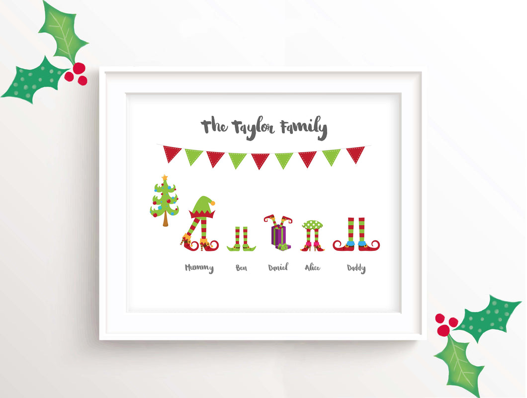 Elf Family Picture, Elf Family Wall Art, Personalised Christmas Art, personalised christmas wall art, Christmas Decor