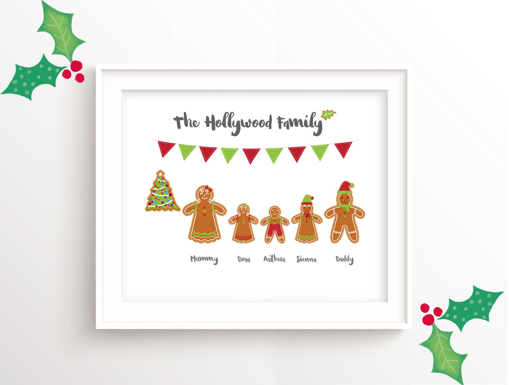 Personalised Christmas Family Art, Gingerbread Man Christmas Picture, Personalised Christmas Art, family christmas art