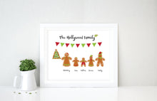 gingerbread family wall art, gingerbread family picture, personalised christmas wall art, Gingerbread Christmas Decor
