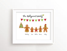 gingerbread family art , Personalised Family Christmas Wall Art UK, Christmas Family Pictures, gingerbread xmas print
