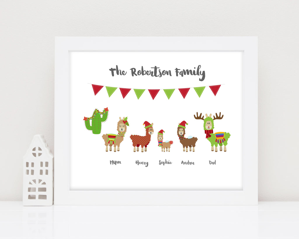 christmas llama decoration, llama family print, llama family decoration, personalised family print, personalised Xmas