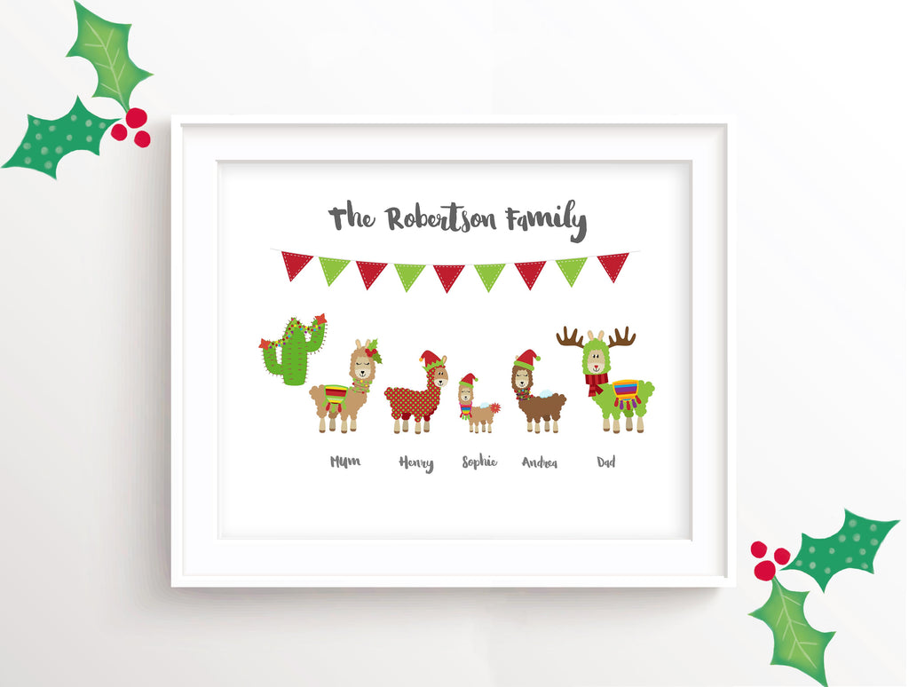 Personalised Family Christmas Wall Art UK, Christmas Family Pictures, Llama Christmas Family Print, Christmas Llama