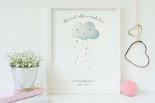 baby shower fingerprint cloud with ink, baby shower fingerprint keepsake, baby shower fingerprint picture, baby shower