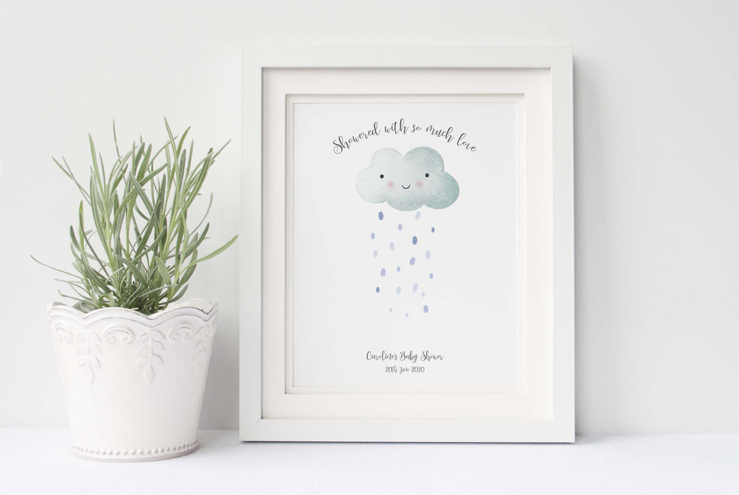 Baby Shower Fingerprint Cloud, Cloud Baby Shower Guest Book Alternative Print, Baby Shower Ideas, Baby Shower Gifts