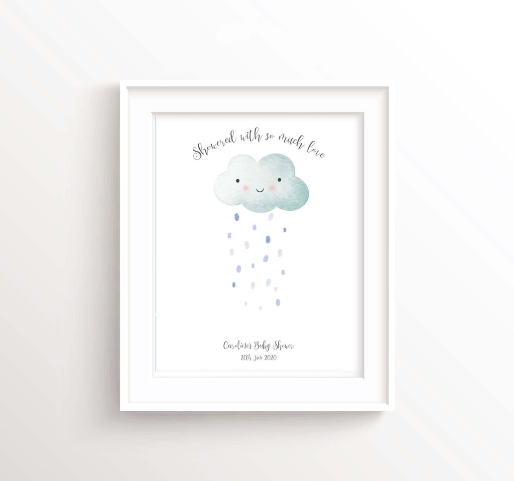 Cloud Fingerprint Keepsake Baby Shower Gifts, Cloud Baby Shower Decorations Unisex Print Wall Art, Cool Baby Shower Idea