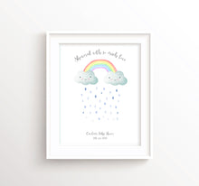 Rainbow Fingerprint Keepsake Baby Shower Gifts, Cloud Baby Shower Decorations Unisex Print Wall Art