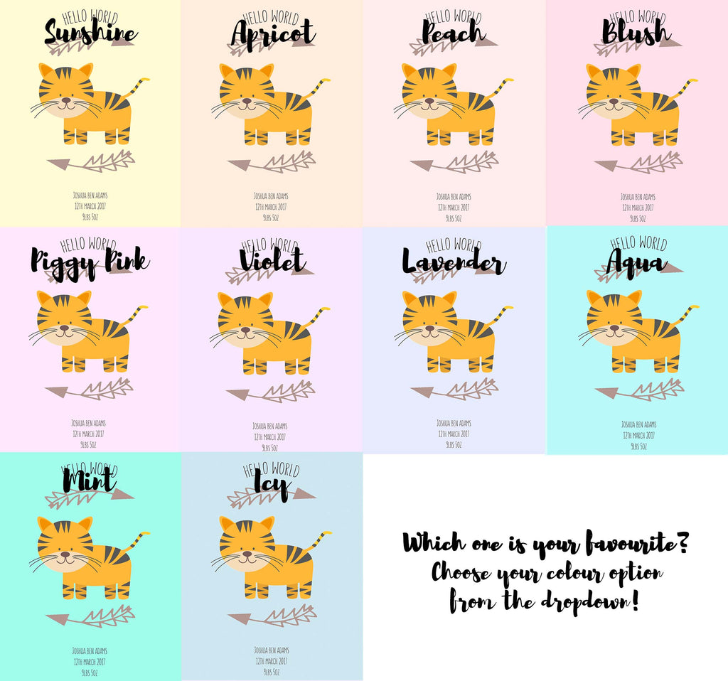 Hellow World Tiger Nursery Print - Colour Options
