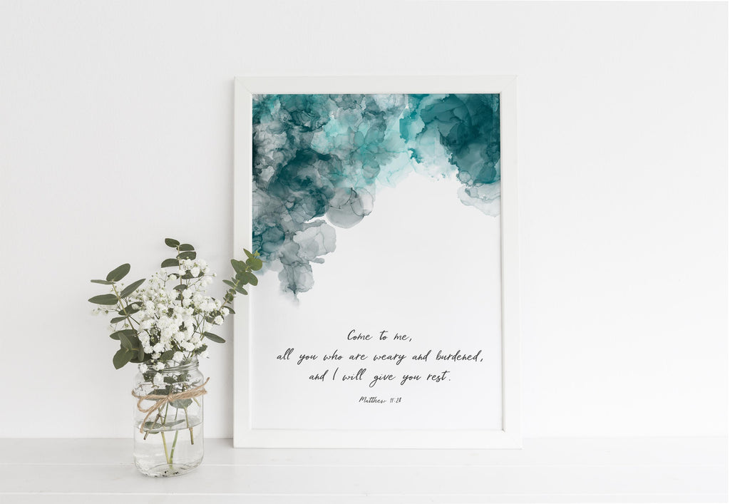 modern christian art, alcohol ink quote prints uk, Matthew 11 28 Print, Abstract Christian Wall Art, christian wall art