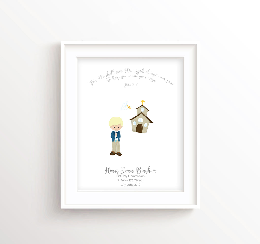 Psalm 91 Wall Art Communion Print, First Holy Communion Gifts for Boys