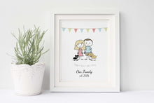 Gift for Couple UK, Funny Gifts for Couples Ideas, Couple Gift Ideas, personalised family print with rabbit