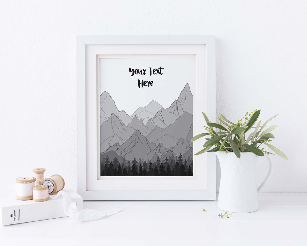 custom quote mountain wall art, custom quote mountain print, mountain gift ideas, gift for mountain lovers