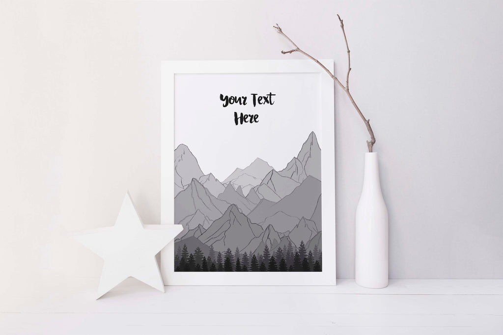 gift for mountain biker, gift for mountain climber, gift for mountain lovers, gift for mountain man, custom quote art