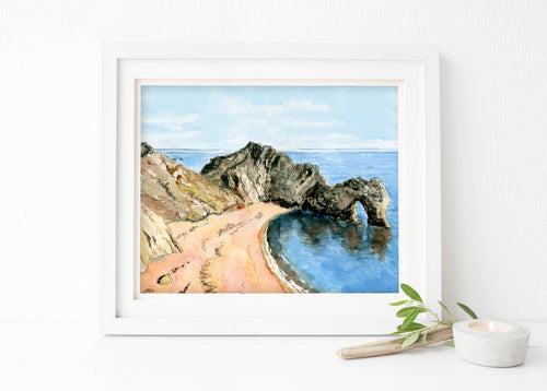 Durdle Door Art Print, Durdle Door Watercolour Wall Art Dorset Coast, dorset coast watercolour artists in poole dorset