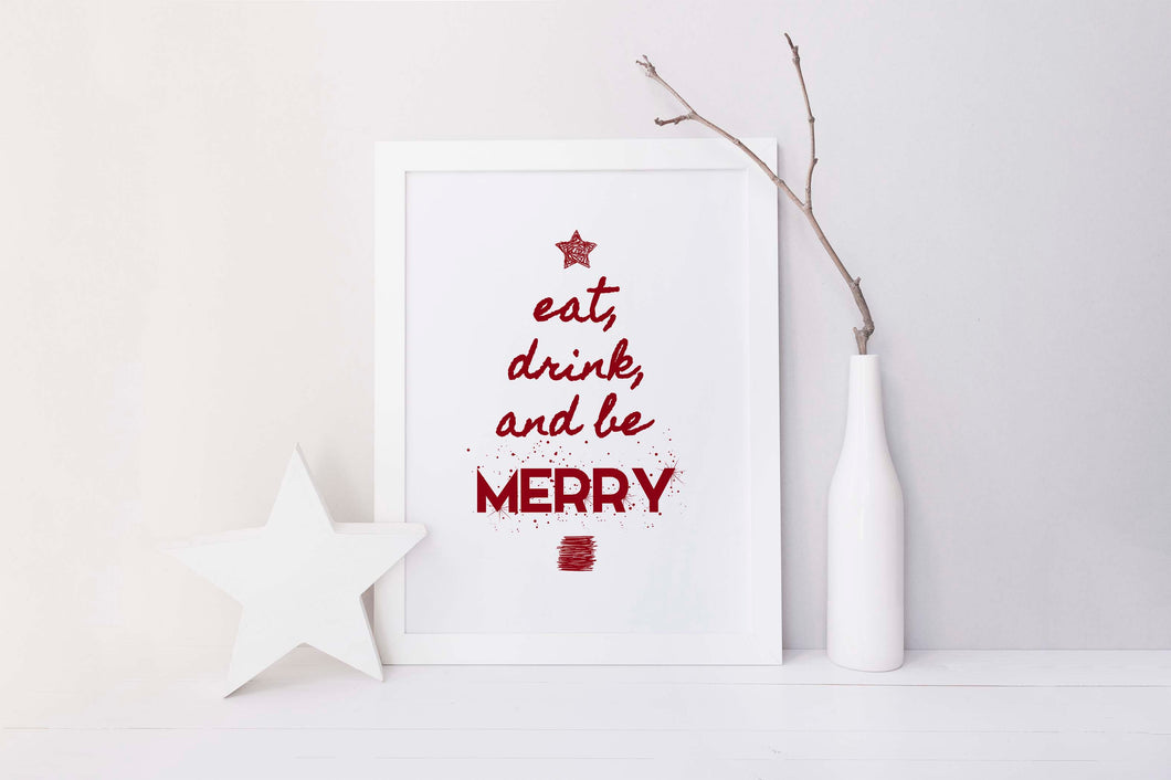 Eat Drink and Be Merry Wall Art Print, Christmas Kitchen Wall Decor, kitchen wall art, christmas kitchen decor, merry