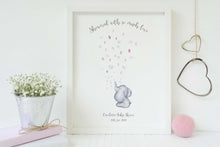 Watercolour Elephant Fingerprint Picture, elephant baby shower fingerprint, Elephant Baby Shower Guest Book Printable