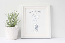 Baby Shower Fingerprint Elephant Guest Book, Watercolour Elephant Fingerprint Picture Print, Baby Shower Keepsake Ideas