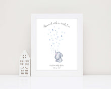 elephant baby shower fingerprint picture, baby shower gifts, baby shower fingerprint keepsake, baby shower guest book