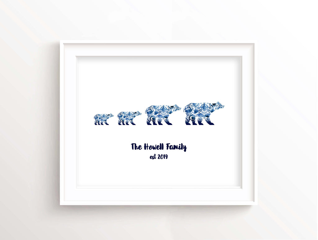 Bear Family Print, Bear Family Picture, Personalised Bear Wall Art, Personalised family print, bear wall art, bear art
