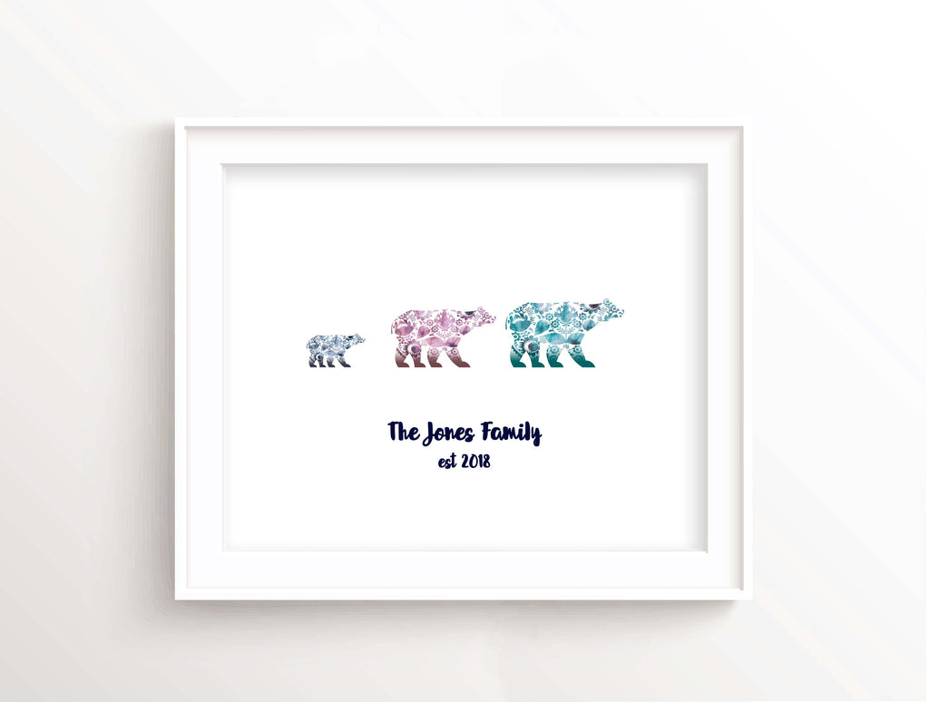 bear art print, bear wall art, presents for parents uk, polar bear gifts, polar bear family, polar bear wall art