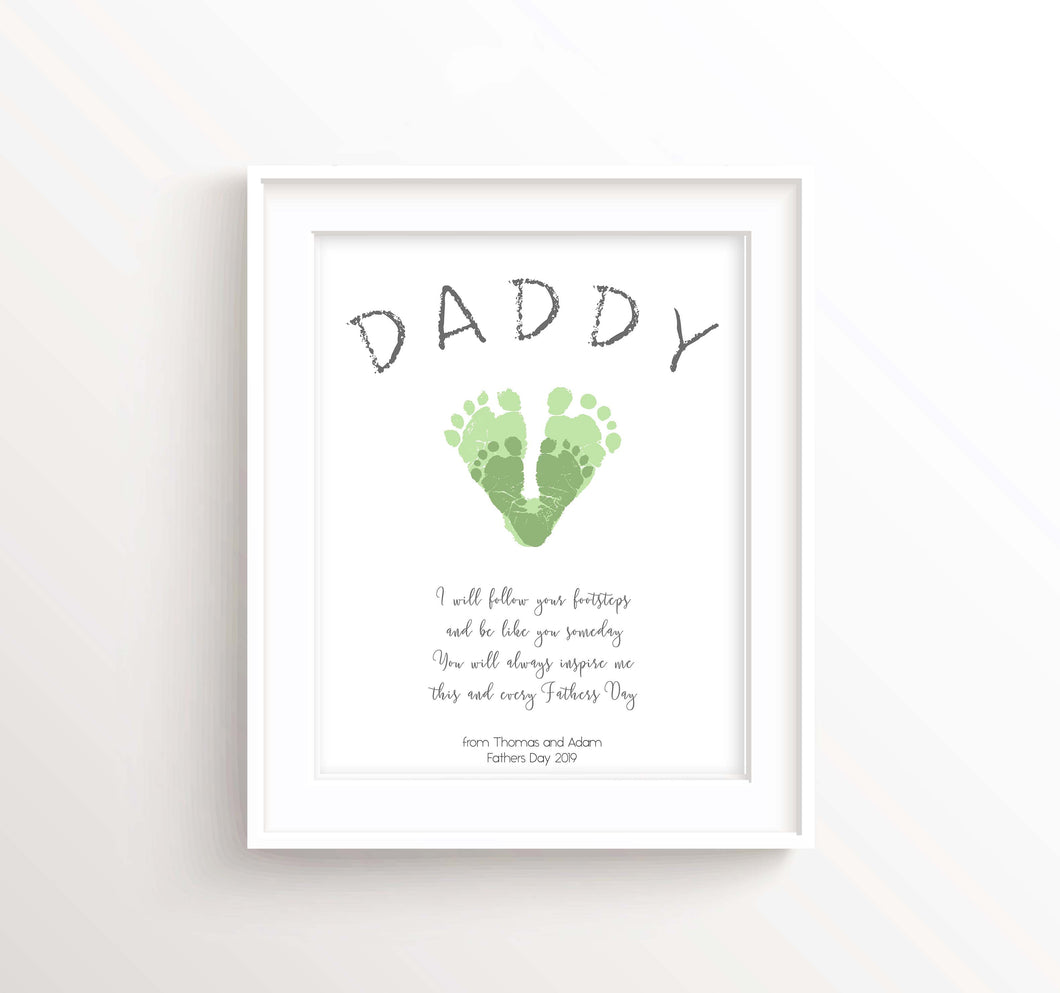 Daddy Gifts from Baby Footprint Art for Dad, First Fathers Day Gifts