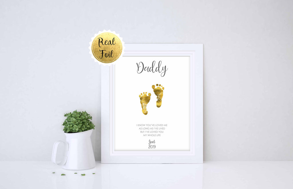 Baby Footprint Gift Ideas for Fathers Day - Custom Gold foil print for Fathers Day or Dads Birthday Gold Foil Baby Footprints Perfect As a Fathers Day Gift of Birthday Gift for Daddy
